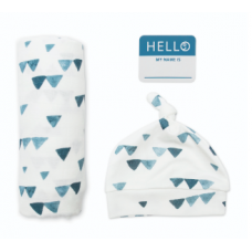 Lulujo - Hello World - Couverture, chapeau noués et autocollant - Triangles marines