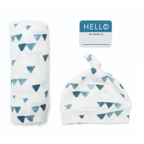 Lulujo - Hello World - Couverture, chapeau noués et autocollant - Triangles marines