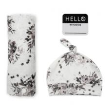 Lulujo - Hello World - Couverture, chapeau noués et autocollant - Fleurs noires