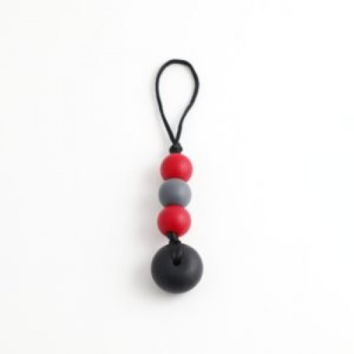 Bulle Bijouterie - Zip-Bulle Charcoal, rouge et noir