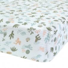 Perlimpinpin - Drap-housse en mousseline de coton pour lit de bébé - Cactus aqua