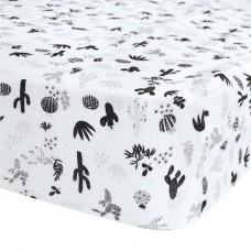 Perlimpinpin - Drap-housse en mousseline de coton pour lit de bébé - Cactus noir