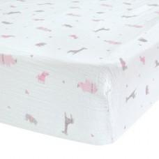 Perlimpinpin - Drap-housse en mousseline de coton pour lit de bébé - Safari rose
