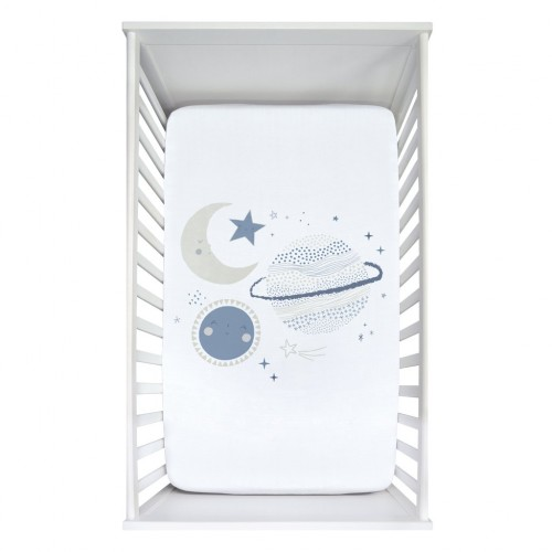 Perlimpinpin - Drap-housse contour en mousseline de coton pour lit de bébé - Scène planètes bleues