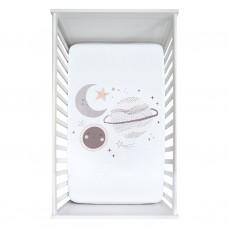 Perlimpinpin - Drap-housse contour en mousseline de coton pour lit de bébé - Scène planètes prunes