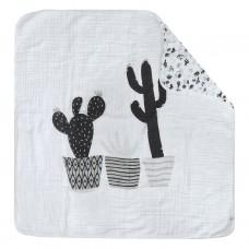 Perlimpinpin - Couverture de mousseline 4 épaisseurs - Cactus noir