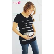 Bédaine Love - T-Shirt humoristique - Bébé coucou rayures - Noir