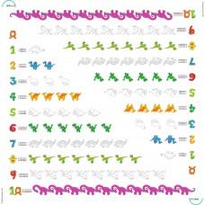 Bimoo - Nappe à colorier multilingue - Les Nombres avec des dinosaures