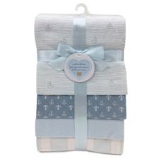Piccolo Bambino - 4 couvertures de flanelle - Bleu