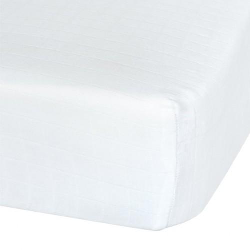 Perlimpinpin - Drap-housse contour en mousseline de coton - Blanc