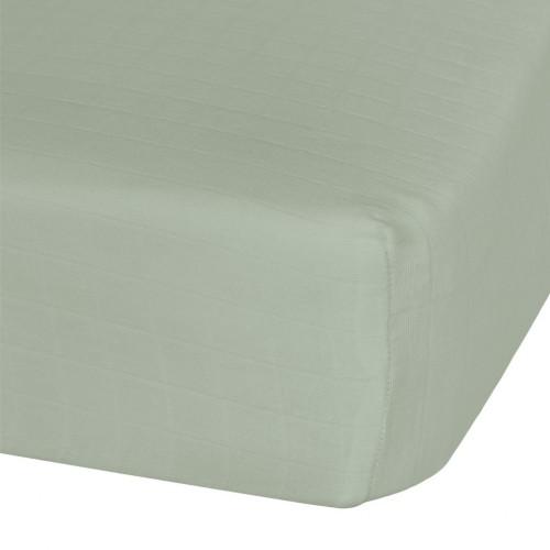 Perlimpinpin - Drap-housse contour en mousseline de coton - Kaki
