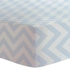 Kushies - Drap contour en flanelle pour matelas de lit de bébé - Chevron Bleu