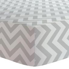 Kushies - Drap contour pour matelas de lit de bébé - Chevron Gris