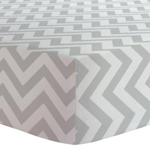 Kushies - Drap contour en flanelle pour matelas de lit de bébé - Chevron Gris