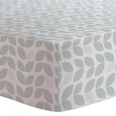 Kushies - Drap contour en flanelle pour matelas de lit de bébé - Pétales Gris et Rose