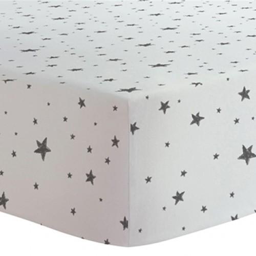 Kushies - Drap contour en flanelle pour matelas de lit de bébé - Étoiles Noires