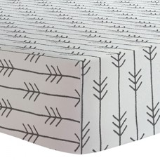 Kushies - Drap contour en flanelle pour matelas de lit de bébé - Flèches Noir et Blanc