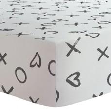 Kushies - Drap contour en flanelle pour matelas de lit de bébé - XO Noir et Blanc