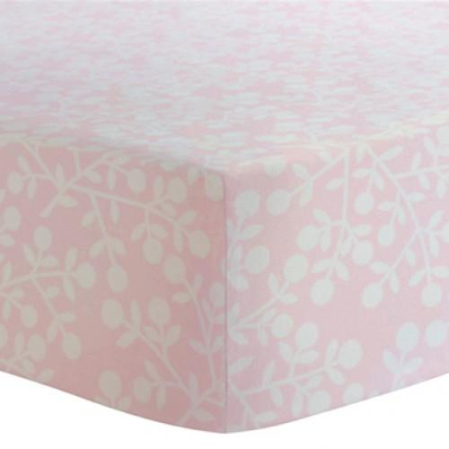 Kushies - Drap contour en flanelle pour matelas de lit de bébé - Baies Roses