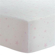 Kushies - Drap contour pour matelas de lit de bébé - Étoiles Rose