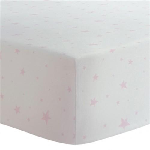 Kushies - Drap contour en flanelle pour matelas de lit de bébé - Étoiles Rose