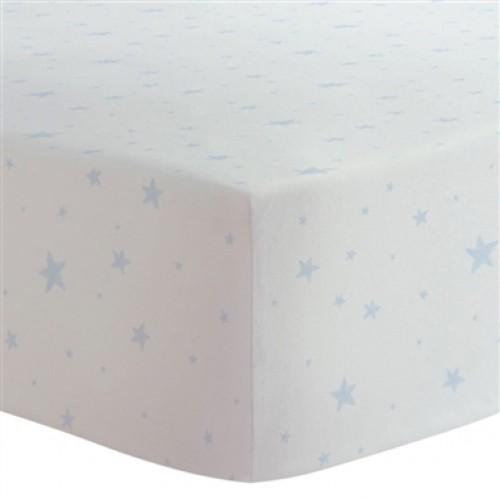 Kushies - Drap contour en flanelle pour matelas de lit de bébé - Étoiles Bleues