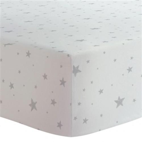 Kushies - Drap contour en flanelle pour matelas de lit de bébé - Étoiles Grises