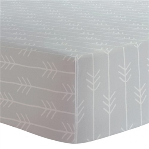 Kushies - Drap contour en flanelle pour matelas de lit de bébé - Flèches Gris