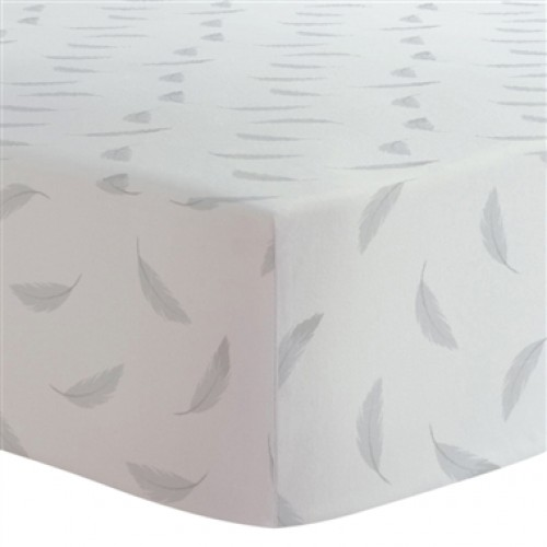 Kushies - Drap contour en flanelle pour matelas de lit de bébé - Plumes Grises