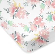 Kushies - Drap contour en percale pour matelas de lit de bébé - Fleurs aquarelle