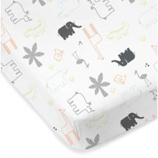 Kushies - Drap contour en percale pour matelas de lit de bébé - Animaux de la jungle