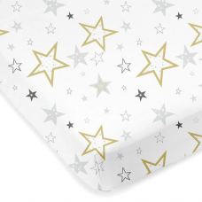 Kushies - Drap contour en percale pour matelas de lit de bébé - Étoiles dorées