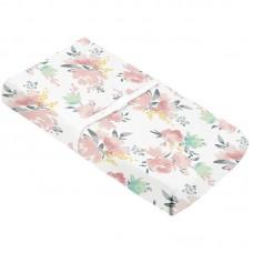 Kushies - Drap contour en percale pour matelas à langer arqué - Fleurs aquarelle
