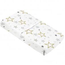 Kushies - Drap contour en percale pour matelas à langer arqué - Étoiles dorées