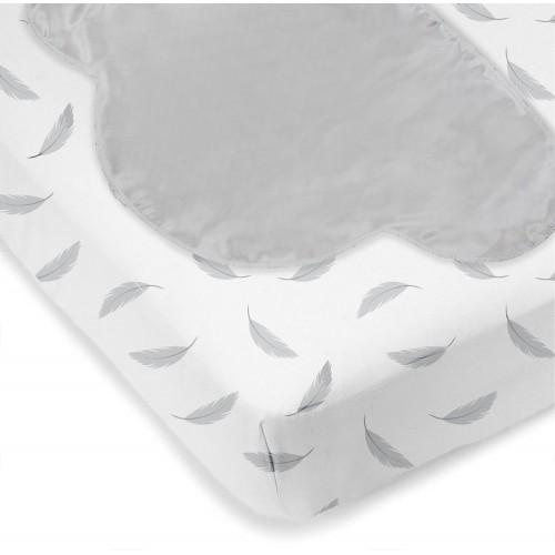 Kushies - Drap contour en flanelle pour matelas de lit de bébé avec tête de lit - Plumes grises