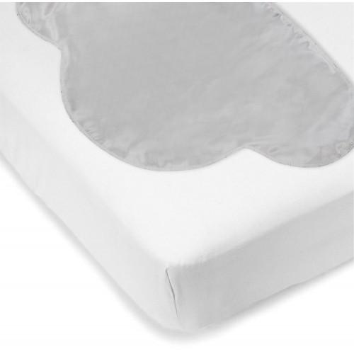 Kushies - Drap contour en flanelle pour matelas de lit de bébé avec tête de lit - Blanc