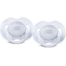 Philips Avent - Suce Classique Translucide - 0 à 6 mois - Blanc et blanc
