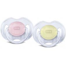 Philips Avent - Suce Classique Translucide - 0 à 6 mois - Rose et jaune