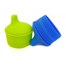 Silikids - Siliskin - Couvercle universel en silicone pour gobelet - Paquet de 2 - Bleu et vert
