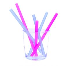 Silikids - GoSili - Pailles en silicone réutilisables de 3 longueurs - Paquet de 6 - Rose et bleu