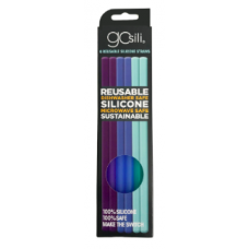 Silikids - GoSili - Pailles en silicone réutilisables - Paquet de 6 - Bleu Ombré