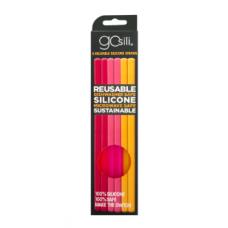 Silikids - GoSili - Pailles en silicone réutilisables - Paquet de 6 - Rouge Ombré