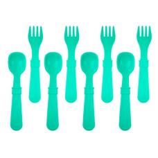 Re-Play - Ensemble de 4 fourchettes et 4 cuillères en plastique recyclé - Aqua