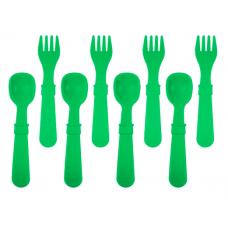 Re-Play - Ensemble de 4 fourchettes et 4 cuillères en plastique recyclé - Vert Kelly