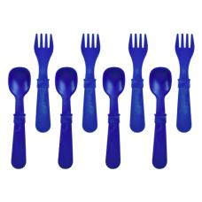 Re-Play - Ensemble de 4 fourchettes et 4 cuillères en plastique recyclé - Marine