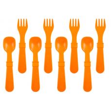 Re-Play - Ensemble de 4 fourchettes et 4 cuillères en plastique recyclé - Orange