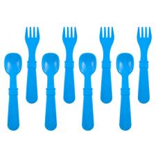 Re-Play - Ensemble de 4 fourchettes et 4 cuillères en plastique recyclé - Bleu ciel