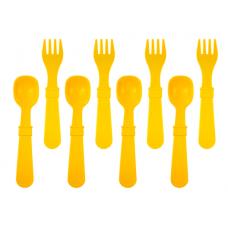 Re-Play - Ensemble de 4 fourchettes et 4 cuillères en plastique recyclé - Jaune soleil