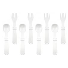 Re-Play - Ensemble de 4 fourchettes et 4 cuillères en plastique recyclé - Blanc