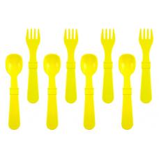 Re-Play - Ensemble de 4 fourchettes et 4 cuillères en plastique recyclé - Jaune